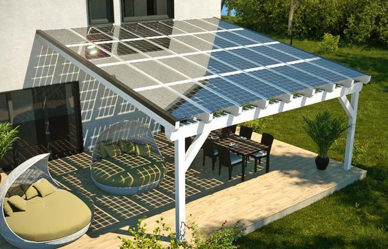 portico con tetto fotovoltaico
